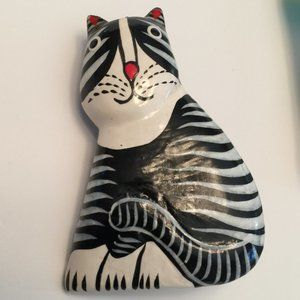 Vintage Painted Wood Striped Kitty Cat Pin Brooch